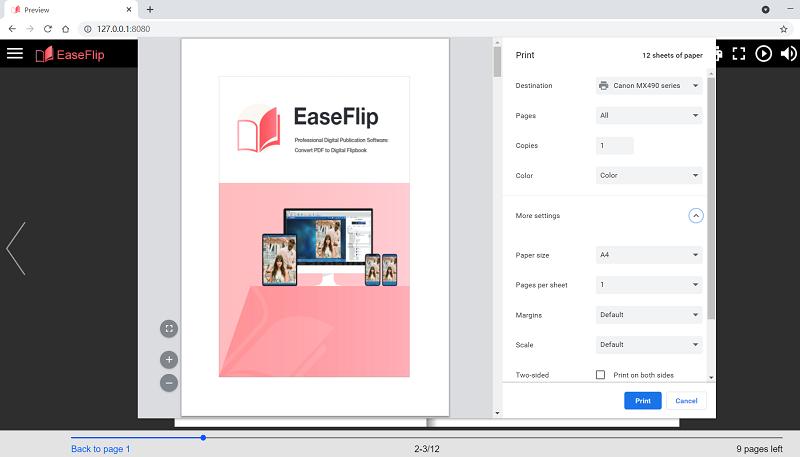 Printing Settings in EaseFlip