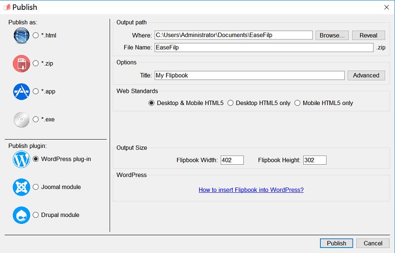 Publish Flipbook in WordPress Plug-in