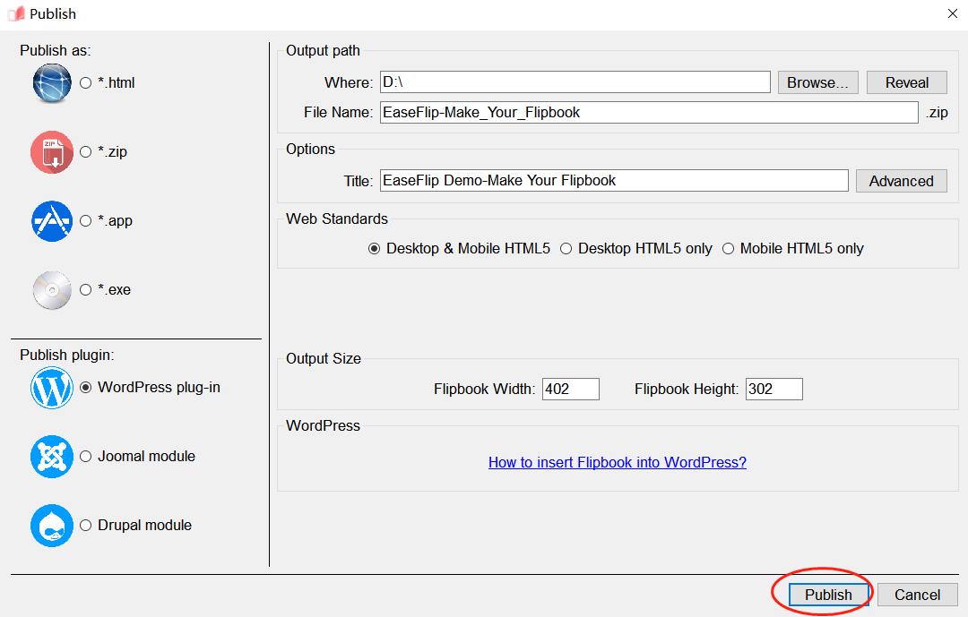 EaseFlip Publish Flipbook