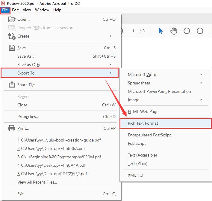 Adobe Acrobat Pro DC Export to RTF Format