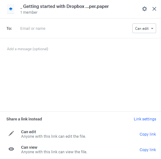 Dropbox Share File
