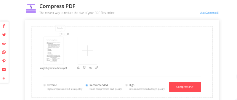 EasePDF 압축 PDF 압축 수준 선택