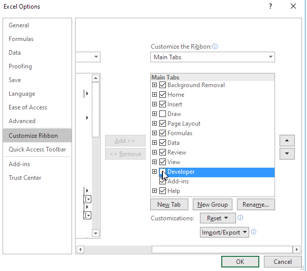 Excel Customize Ribbon Developer