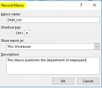 Excel Developer Record Macro Setting