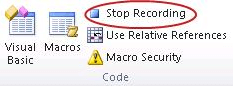 Excel Developer Stop Recording