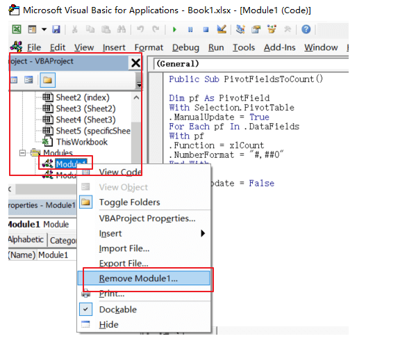 Excel Developer Visual Basic Remove Module