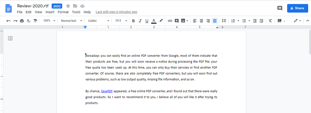 Google Docs View the RTF File