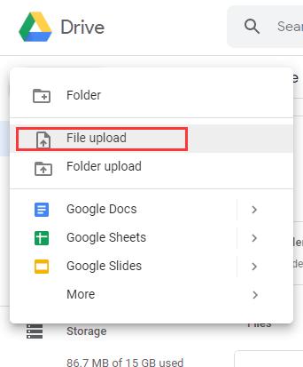 Nuovo caricamento di file di Google Drive