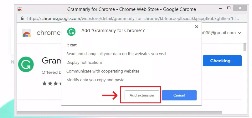 Grammarly拡張機能を追加