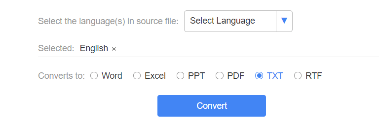LightPDF OCR Select Language and Output Format