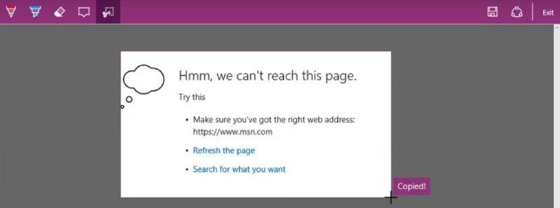 Microsoft Edge Web Note Copied