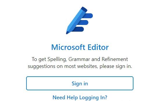 Microsoft Editor Sign in