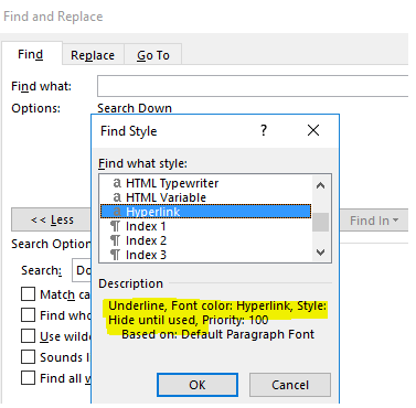 Microsoft Word 하이퍼 링크 찾기 및 바꾸기
