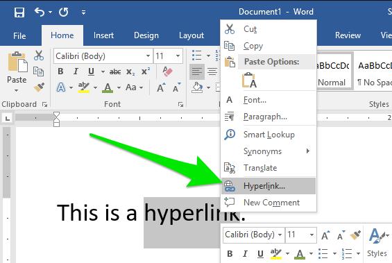 Hipervínculo de Microsoft Word