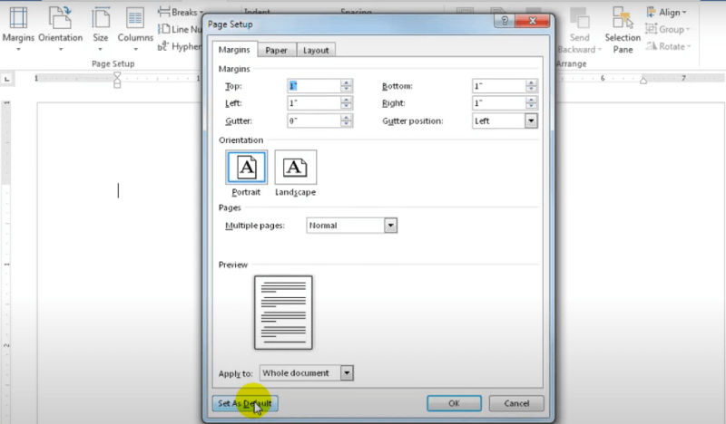 Microsoft Word Page Setup