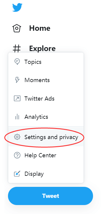Twitter Settings and Privacy Web