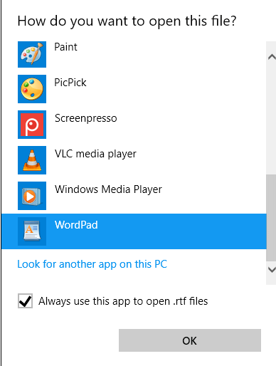 Archivo RTF abierto de WordPad de Windows