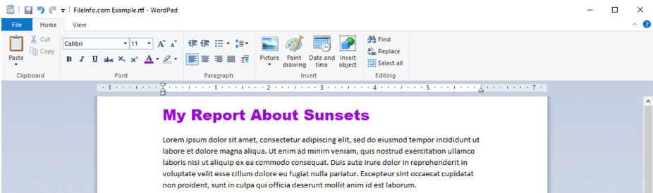 Windows WordPad Open RTF File