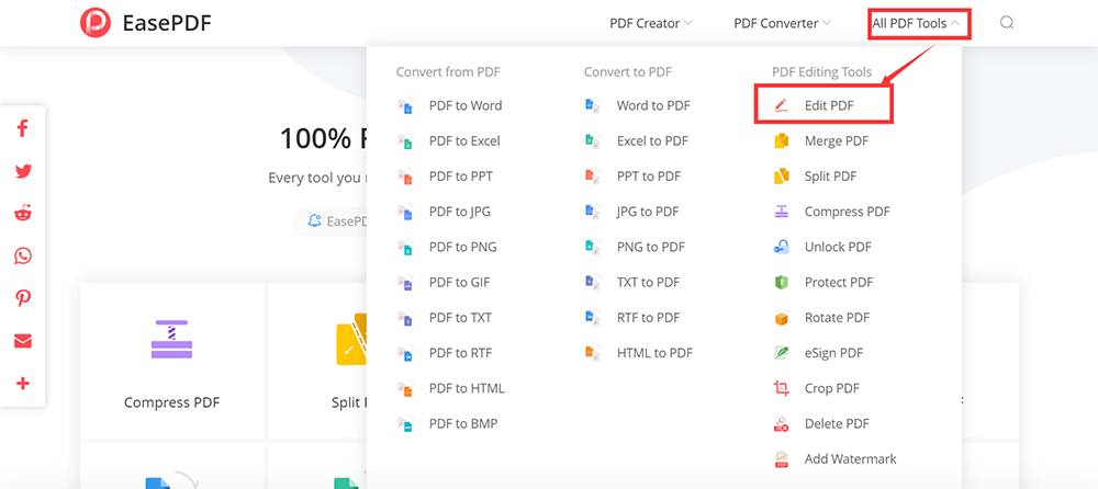 EasePDF All PDF Tools Edit PDF