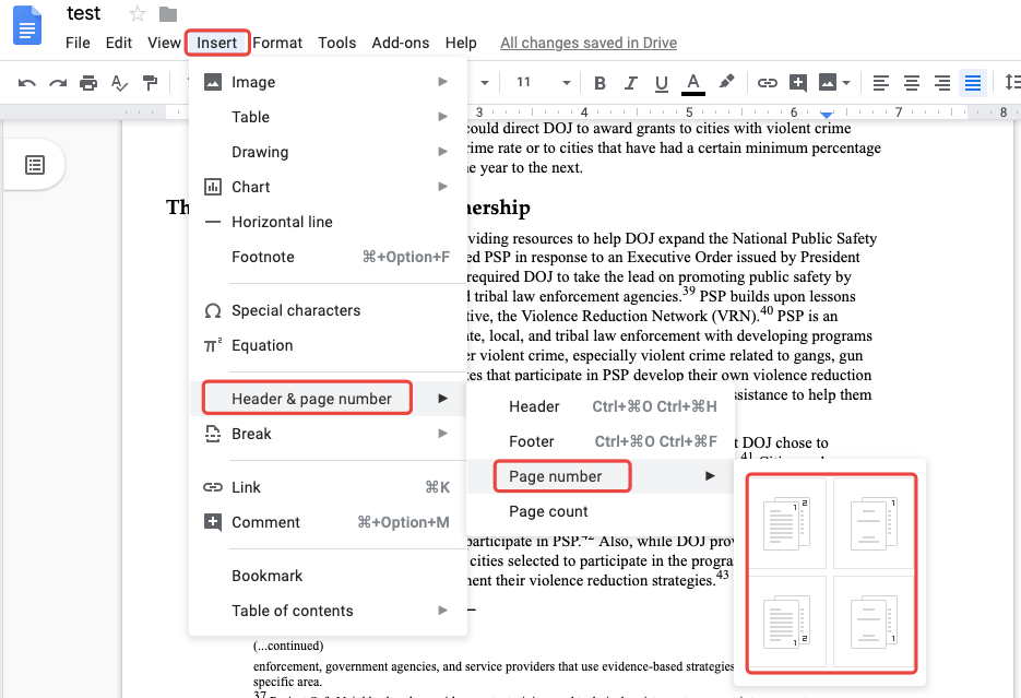 Google Docs Add Page Number