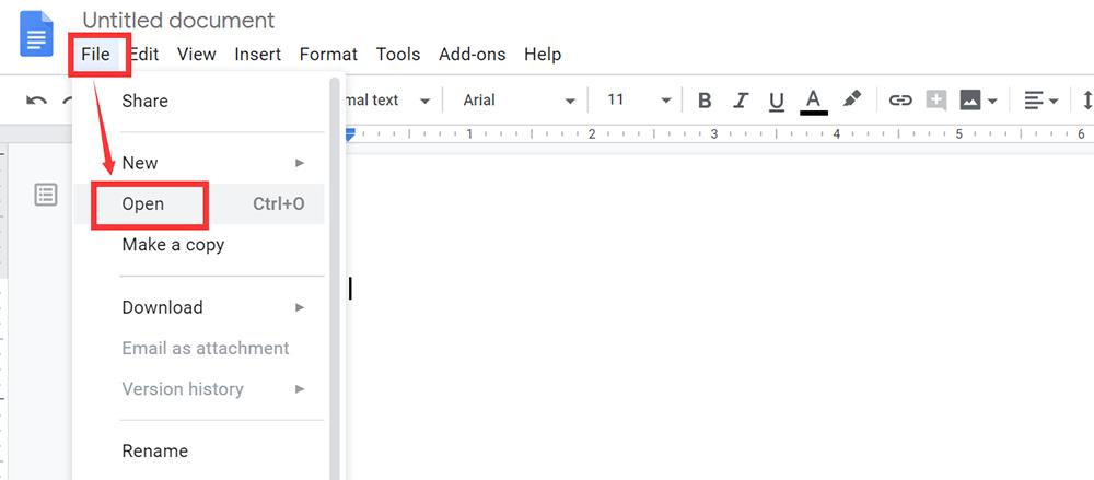 Google Docs Upload File