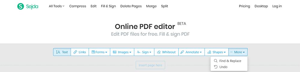 Sejda Edit PDF