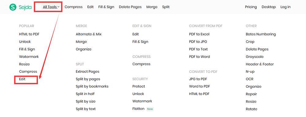 Sejda Homepage All Tools Edit