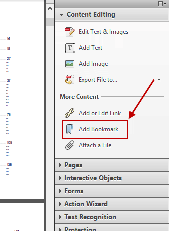 Adobe Acrobat Add Bookmark