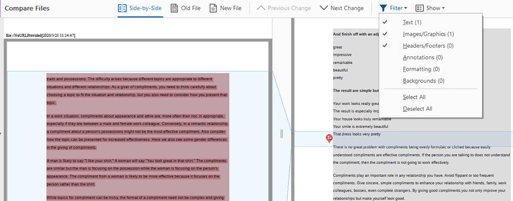 Adobe Acrobat Pro DC Compare Files