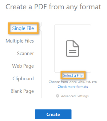 Adobe Acrobat Pro Create PDF Select File