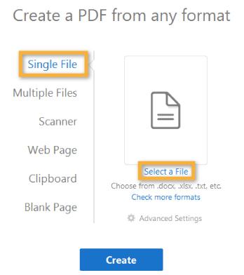Adobe Acrobat Pro DC PDF 작성 파일 선택