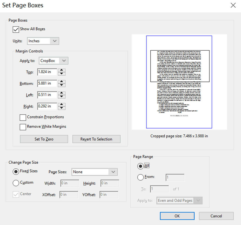 Adobe Acrobat Pro DC Crop Page Set Page Boxes