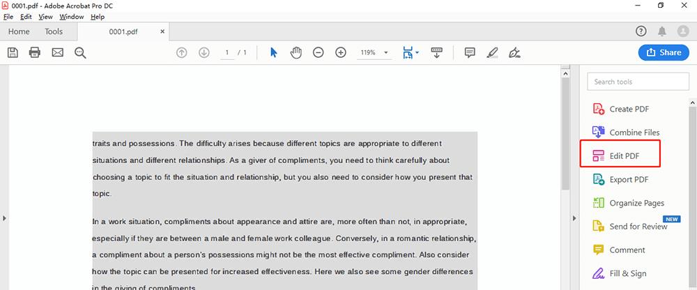Adobe Acrobat Pro DC Edit PDF