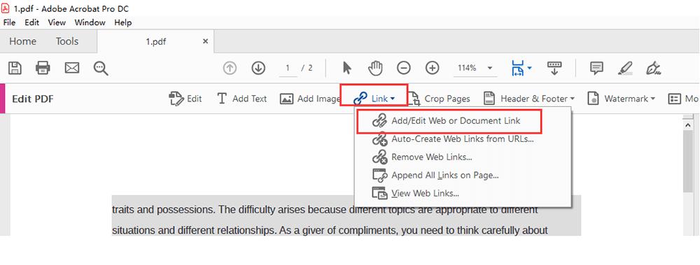 Adobe Acrobat Pro DC Link Add Document Link