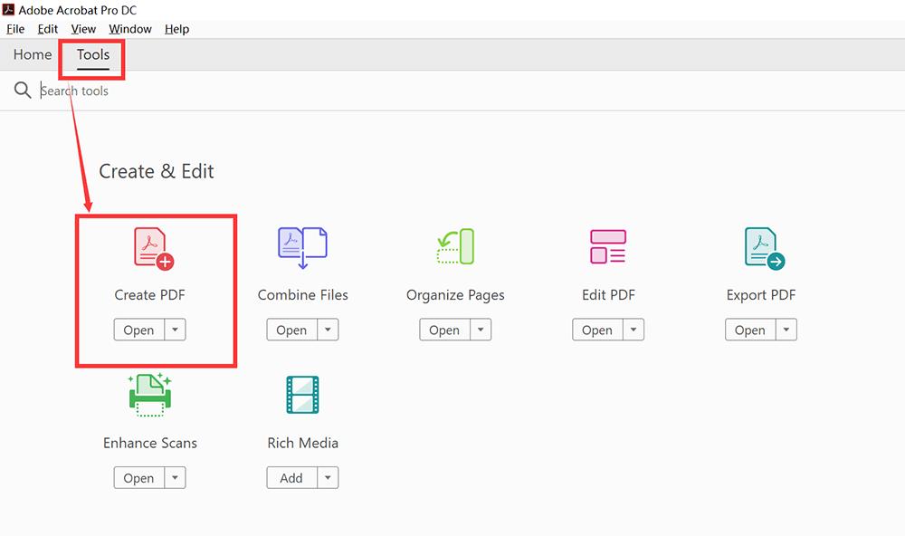 Herramientas de Adobe Acrobat Pro DC Crear PDF