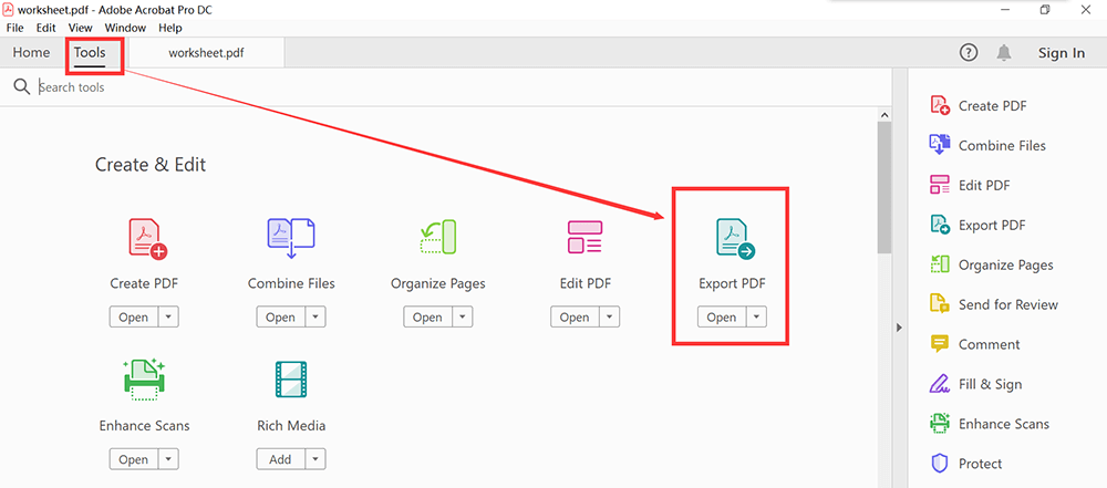 Adobe Acrobat Pro DC Tools Export PDF