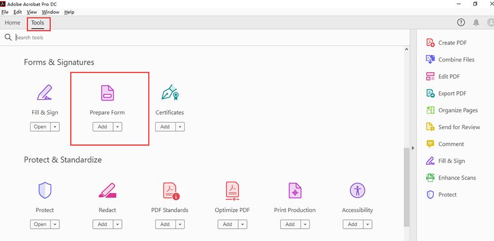 Adobe Acrobat Pro DC Tools Preparar formulario