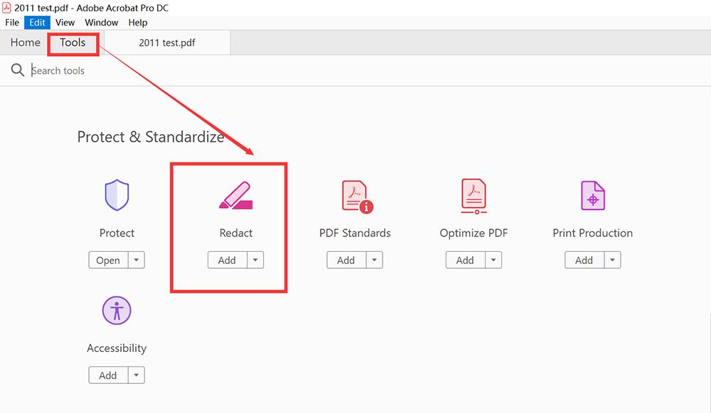 Redacción de herramientas de Adobe Acrobat Pro DC
