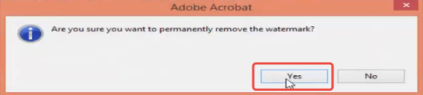 Adobe Acrobat Pro Remove Watermark Confirmation