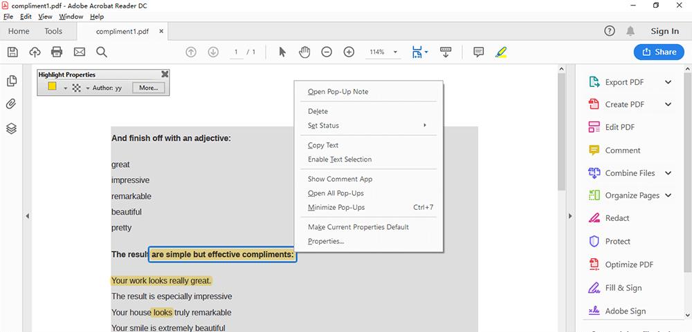 Adobe Acrobat Reader DC Highlight Text