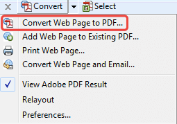 Adobe PDF Toolbar Convert Webpage to PDF