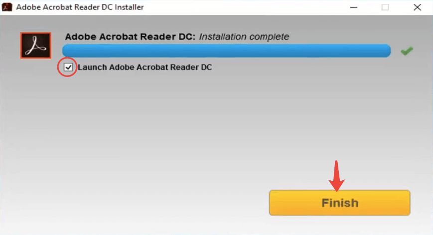 Adobe Reader Installer Finish
