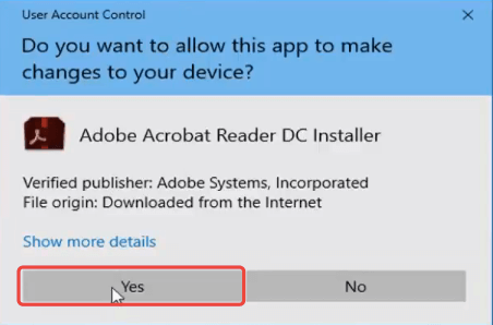 Adobe Reader Install User Account Control