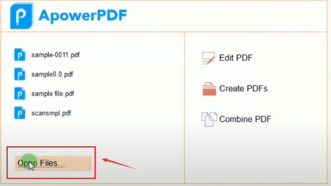 ApowerPDF Open Files