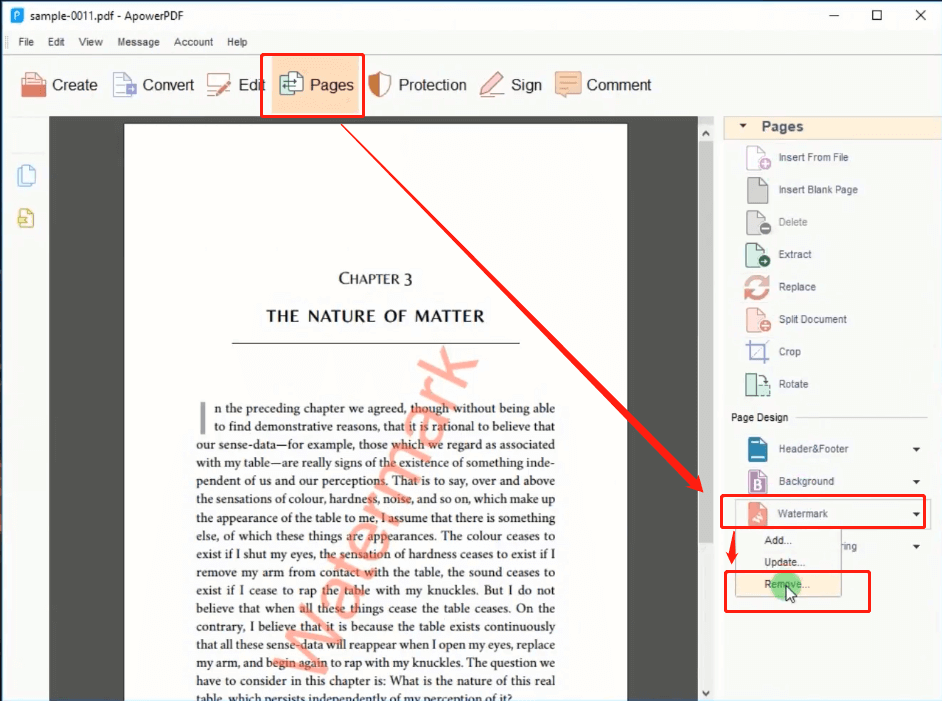 ApowerPDF Pages Watermark Remove