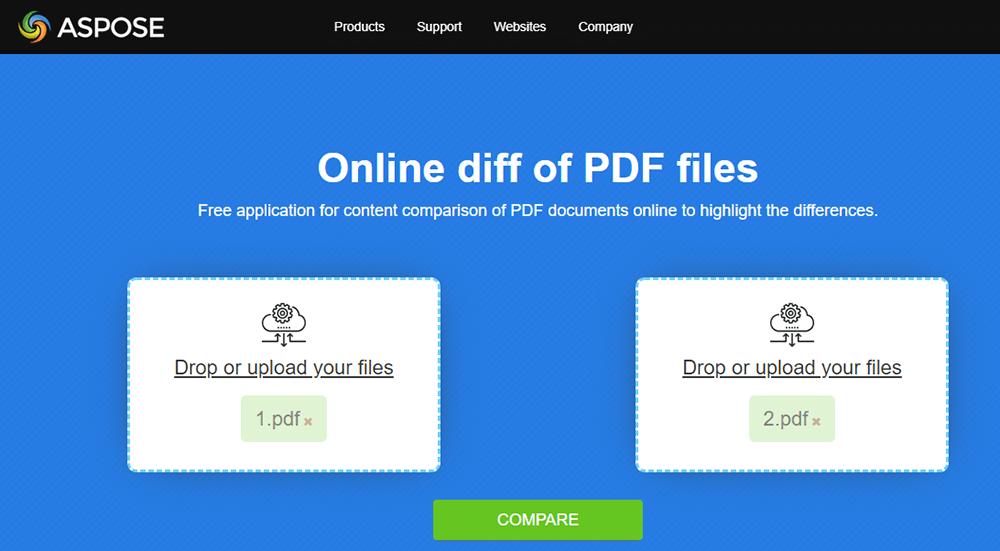 Aspose PDF Compare Upload Compared Documents
