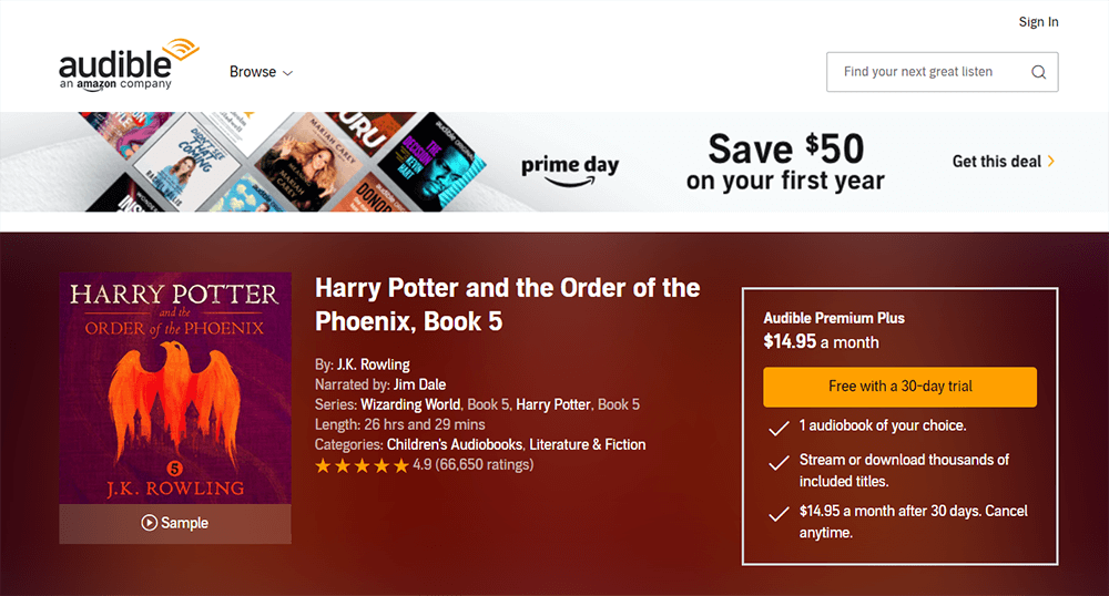 Audible Harry Potter and the Order of the Phoenix