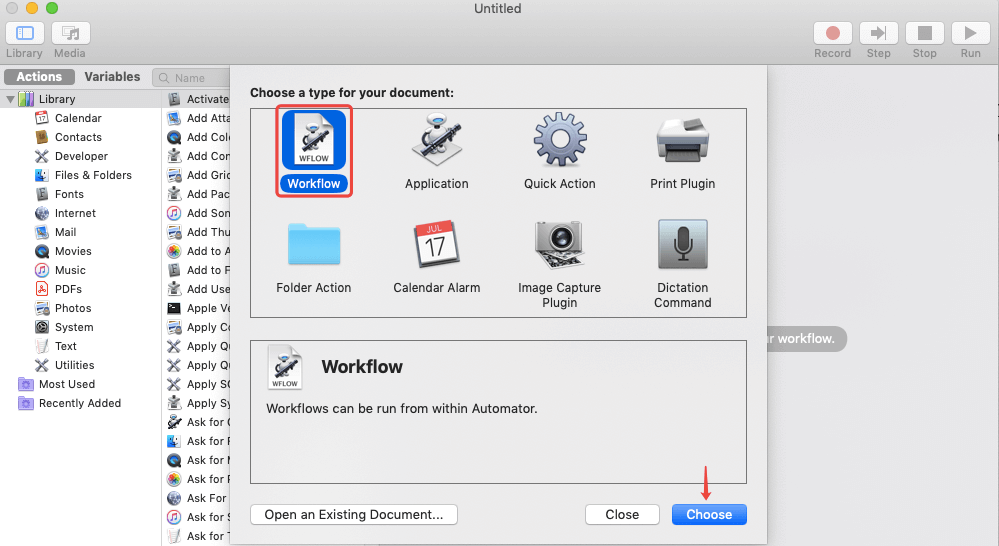 Automator Workflow Choose