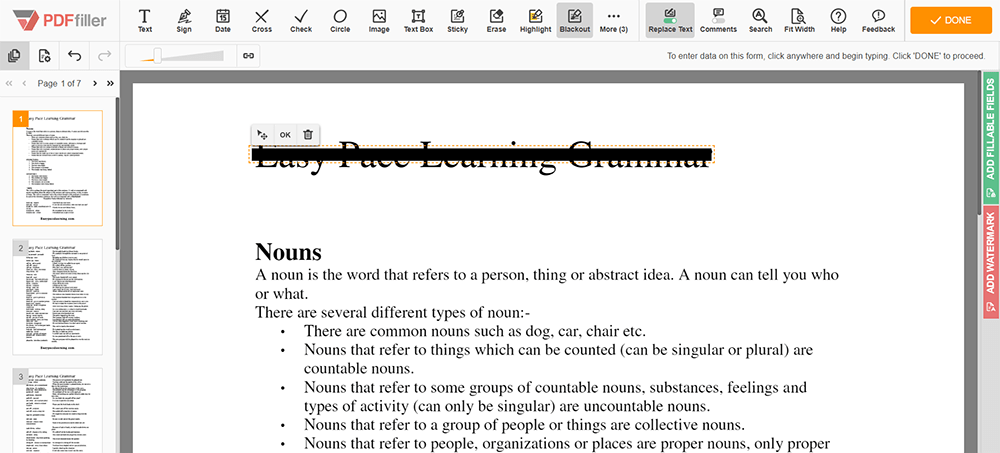 PDF negro en línea Redacto PDF