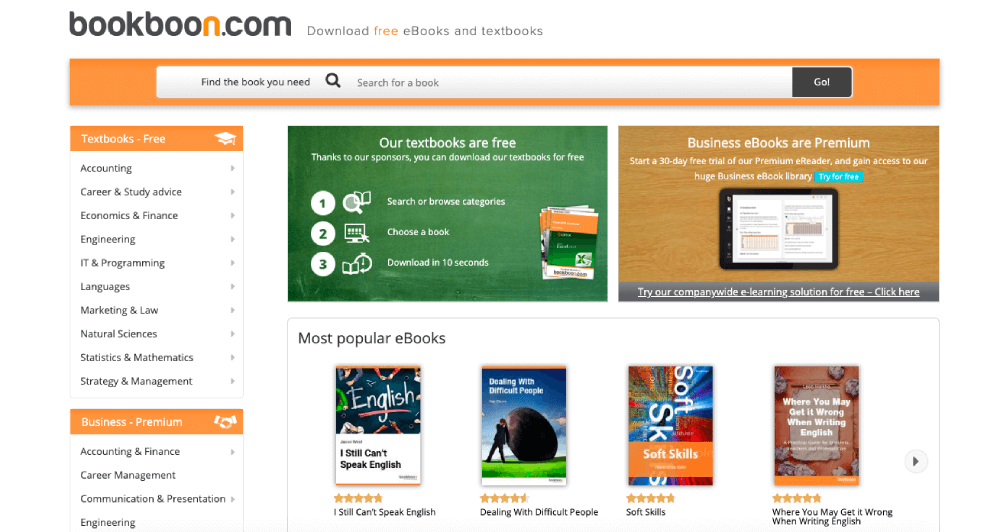 Bookboon Homepage